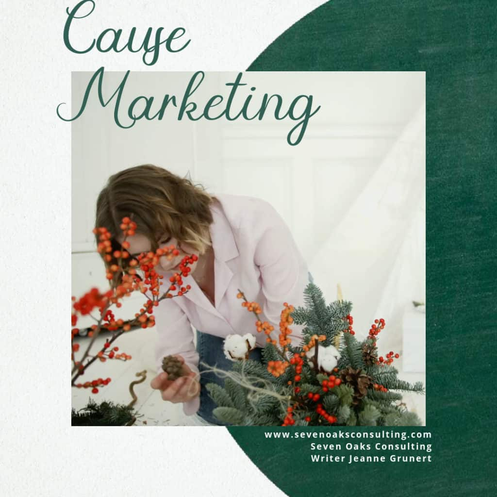 cause marketing ideas with lady arranging holiday greens