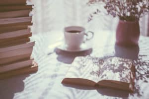 books and coffee on a table